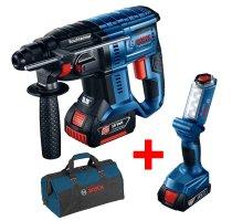 Sada aku kladivo vrtací Bosch GBH 18V-20 Professional + svítilna GLI 18V-300 + bag 0615990K2X