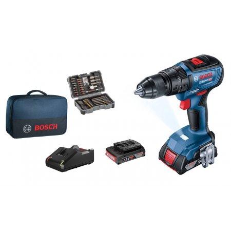 Aku vrtačka Bosch GSR 18V-50 + 43 ks příslušenství + 2x 2,0 Ah 06019H5004